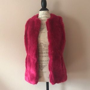 Boston proper hot pink faux fur vest